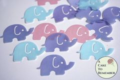 12 baby elephant wafer paper cupcake toppers