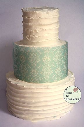 Pale teal damask wafer paper- 3 edible sheets for cake decorating