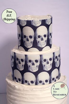 Skulls wafer paper- 3 edible sheets for Halloween cake decorating