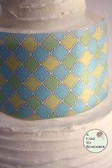 Pear green, blue and yellow quatrefoil edible wafer paper- 3 sheets