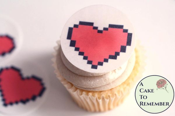 12 video game pixel hearts for cupcake toppers
