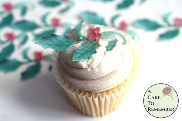 12 wafer paper holly sprigs for cupcake toppers