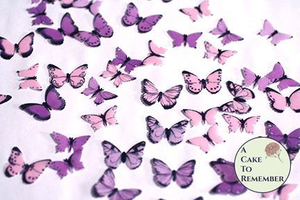 48 small pink and purple edible butterflies for cupcake toppers