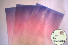 Peach pink and purple ombre edible wafer paper- 3 sheets