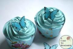 "28 1"" wide blue ombre wafer paper edible butterfly cupcake toppers"