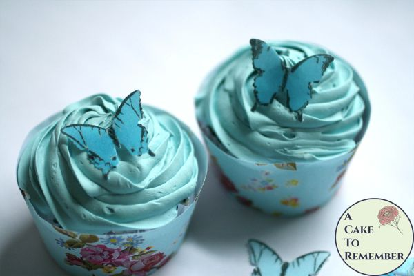 """28 1"""" wide blue ombre wafer paper edible butterfly cupcake toppers"""