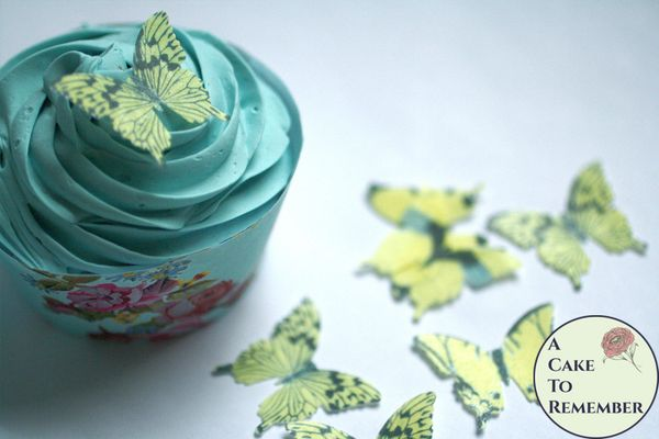 """28 1"""" wide yellow wafer paper edible butterfly cupcake toppers"""