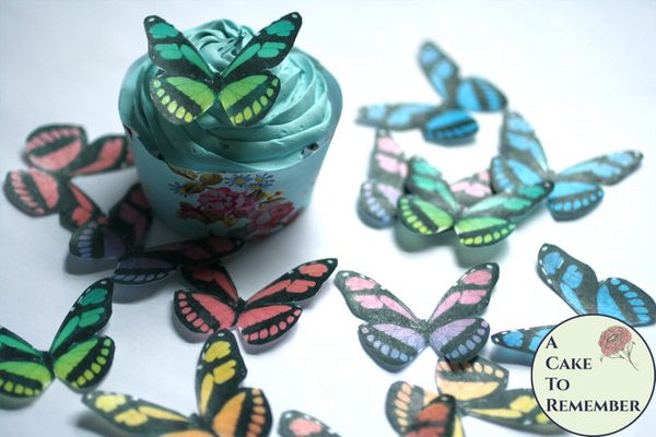 """15 2"""" wide rainbow wafer paper edible butterfly cupcake toppers"""