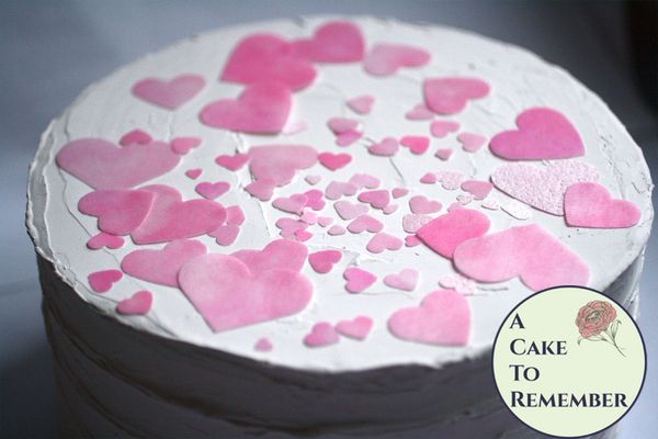 150+ pink wafer paper hearts confetti for cake decorating