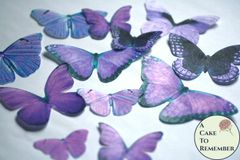 12 large violet purple edible butterflies for cupcakes