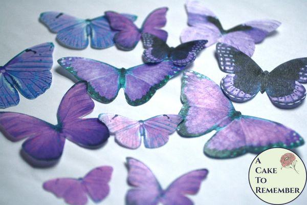 12 large violet purple edible butterflies for cupcakes