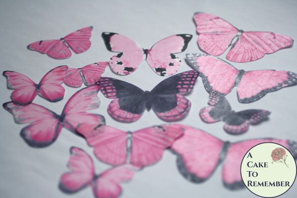 12 large pink wafer paper edible butterflies for cupcakes
