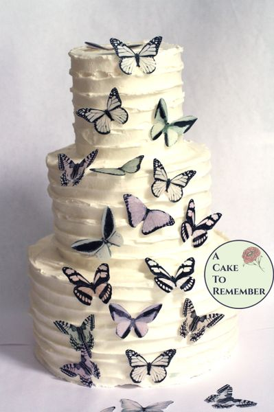"""20 2"""" wide pale pastels wafer paper edible butterfly cupcake toppers"""