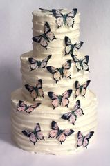 """15 2"""" wide pale pink and orange pastels wafer paper edible butterfly cupcake toppers"""