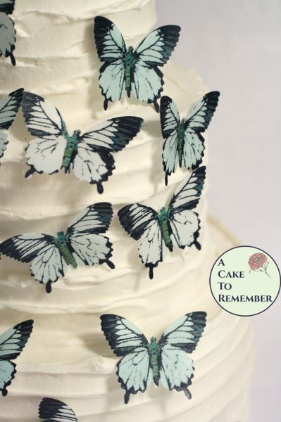 """15 2"""" wide pale blue and white wafer paper edible butterfly cupcake toppers"""