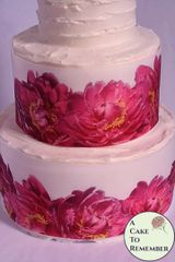 Pink peonies cake border wrap wafer paper, 3 sheets
