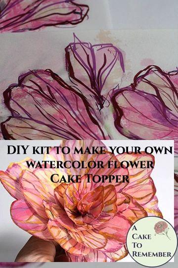 Modern edible flower DIY kit for wedding cake topper