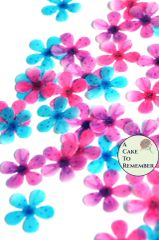 48 wafer paper pink, purple and teal edible flowers cupcake toppers