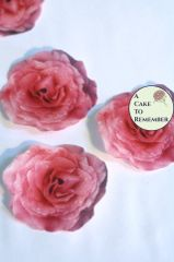 12 pink roses edible flowers wafer paper cupcake toppers