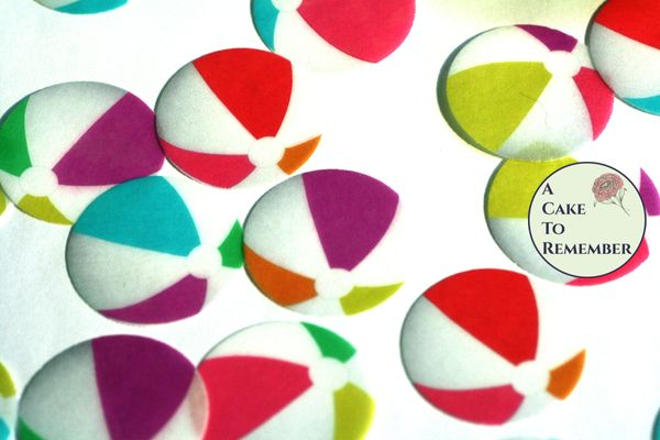 12 beach ball wafer paper edible cupcake toppers