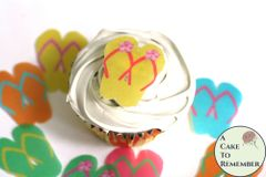 24 wafer paper flip flops cupcake toppers