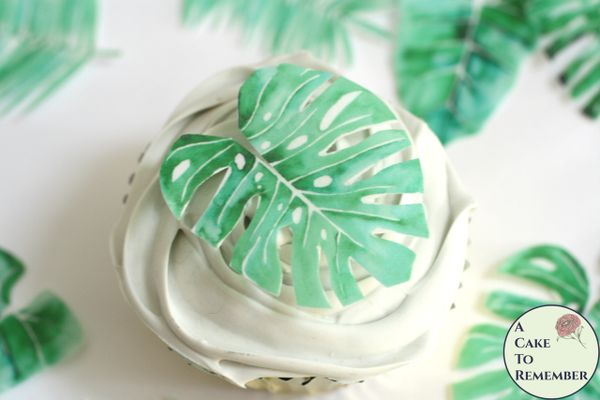 12 tropical leaves edible wafer paper cupcake toppers