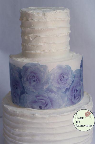 Lavender roses edible wafer paper cake wraps
