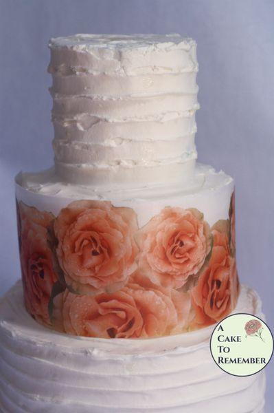 Orange roses edible wafer paper cake wraps