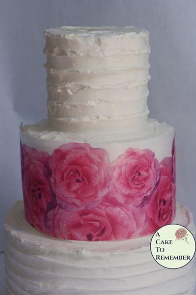 Pink roses edible wafer paper cake wraps