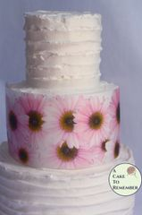 Pink daisies edible wafer paper flower cake wraps