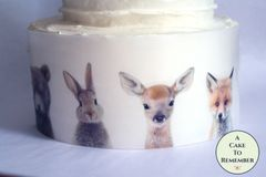 Woodland forest animals edible cake wraps, 3 sheets