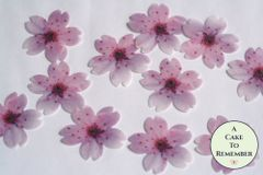 24 pink edible flowers wafer paper cupcake toppers