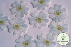 24 fancy white edible flowers wafer paper cupcake toppers