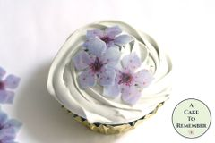 24 fancy purple edible flowers wafer paper cupcake toppers