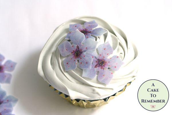 24 fancy purple edible flowers wafer paper cupcake toppers