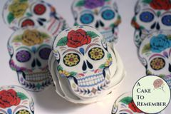 12 Sugar Skull edible wafer paper cupcake toppers Day of the Dead or Halloween