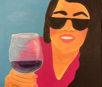"""Here's To You!"" Acrylic Painting 12x12 $1680."
