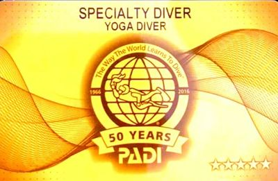 PADI Yoga Diver Certification Card