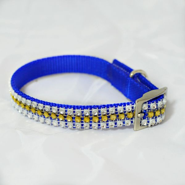 GOLD & NAVY PET COLLAR
