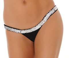 Sequin Trimmed Butterfly Thong