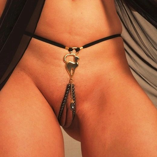 Women's Gold Cat G-String with Hematite Dangling Jewel