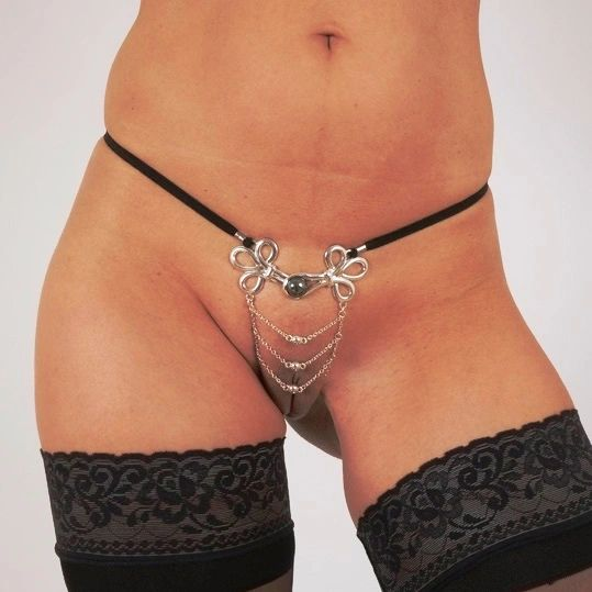 Women's Brandebourgs Knot with Chains G-String in Silver