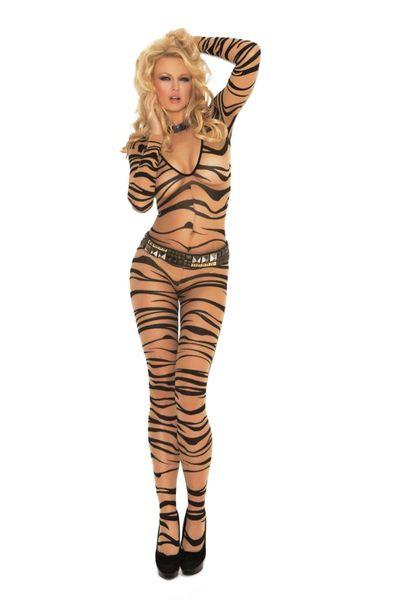Zebra Print Long Sleeve Body Stocking One Size/Plus Size