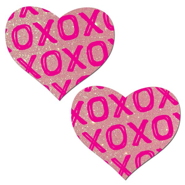 X's AND O's ON BABY PINK GLITTER HEARTS