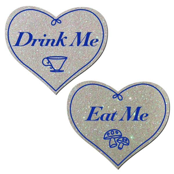 Eat Me - Drink Me - White Glitter Hearts