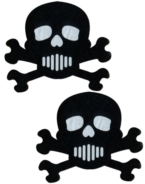 BLACK AND WHITE SKULL & CROSSBONES