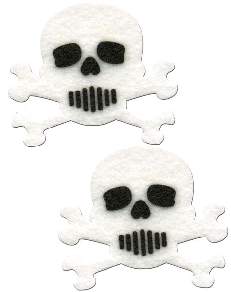 WHITE AND BLACK SKULL & CROSSBONES