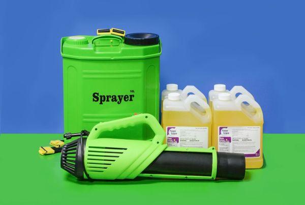 16L Battery Mist Blower w/ 4 x 1 gal case EPA Registered Lemon Disinfectant