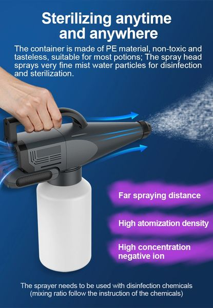 In stock, cordless, battery electrostatic handheld ulv cold fogger