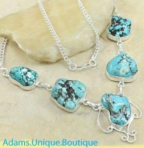 Details about  /Genuine Blue Turquoise 925 Silver Necklace Jewelry Women Handmade USA SELLER